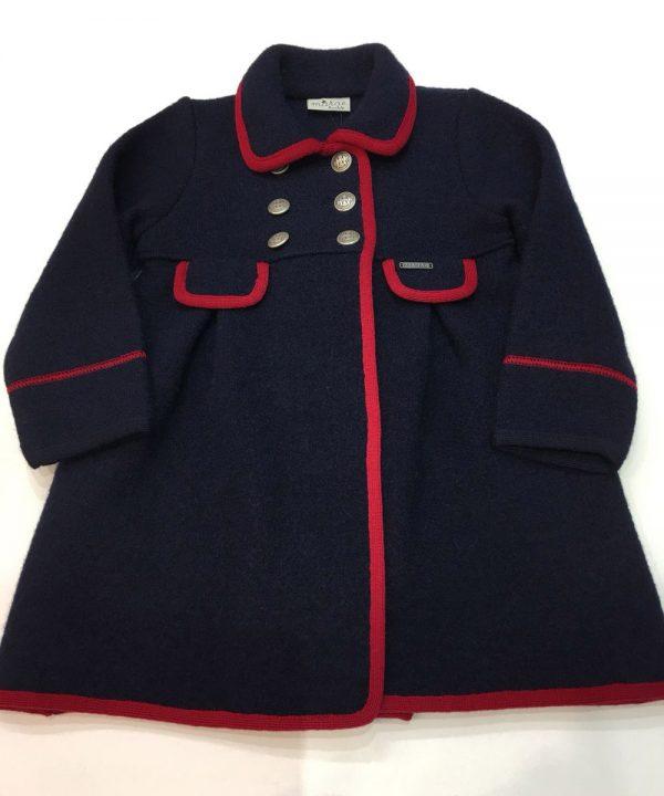 Abrigo de lana cocida, color azul marino