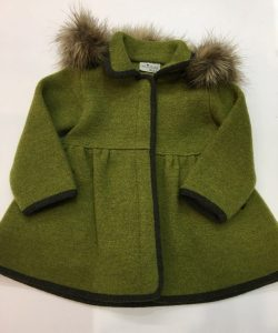 Chaquetón de lana cocida, color verde