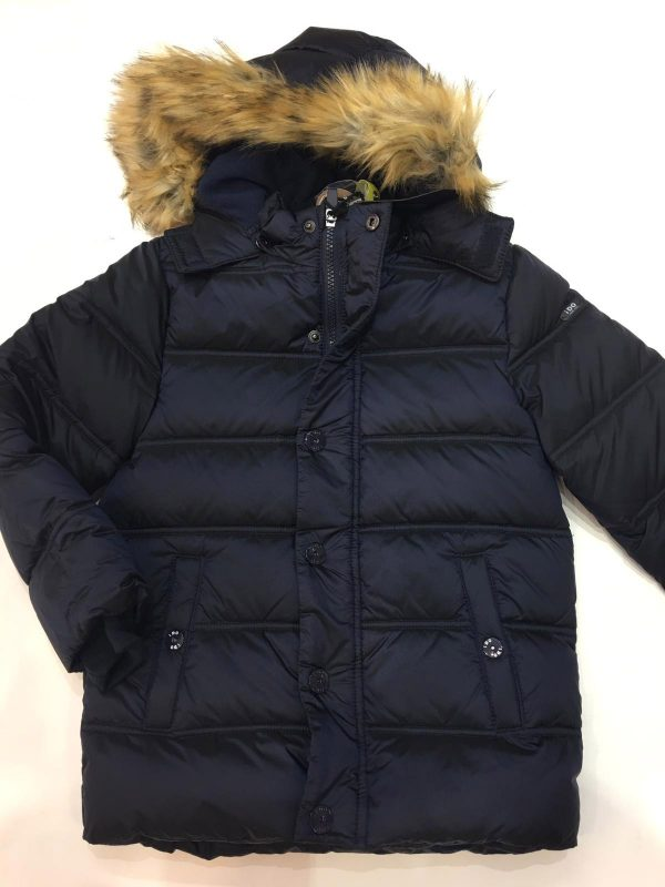 Abrigo plumífero iDO con capucha de pelo
